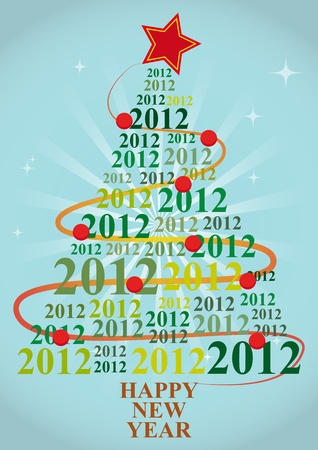 illustration of xmas tree with 2012 year Vector