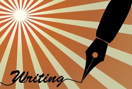 lectura y escritura: ilustraci�n de la punta de la pluma estilogr�fica con la escritura de texto Vectores