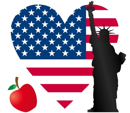 liberty statue: heart flag usa with statue of liberty and apple Illustration