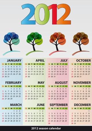 illustration of 2012 calendar season tree Stock Vector - 11326806