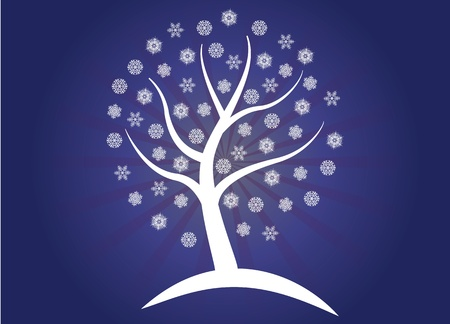 illustration of winter snow tree