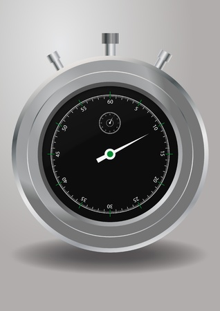 timescale: illustration of stopwatch, metal with black dial clock Illustration
