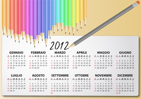 illustration of 2012 calendar with pencil, in italian Vector