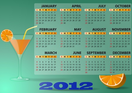 illustration of 2012 calendar with cocktail and orange Stock Vector - 11326816