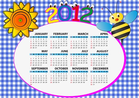 2012 bee and sunflower calendar for children Vector