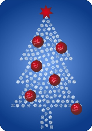 francais: illustration of christmas tree with decoration ball