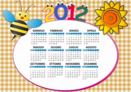 2012 bee and sunflower calendar for children in italian Vector
