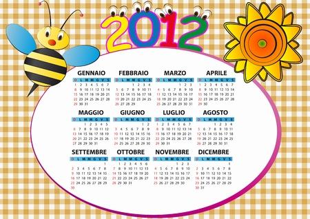 2012 bee and sunflower calendar for children in italian Stock Vector - 11326842