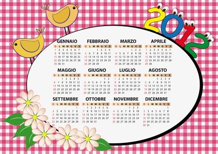 2012 bird and flower calendar for children in italian Stock Vector - 11326841