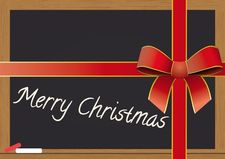 illustration of chalkboard with tied ribbon for christmas holiday Vector