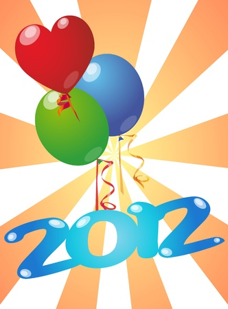 illustration of 2012 year with color balloon Stock Vector - 11493852