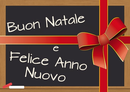 illustration of chalkboard with tied ribbon for christmas, in italian Vector