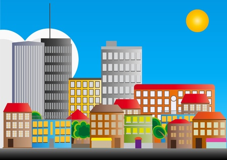 apartment living: illustration of neighborhood of city with sun