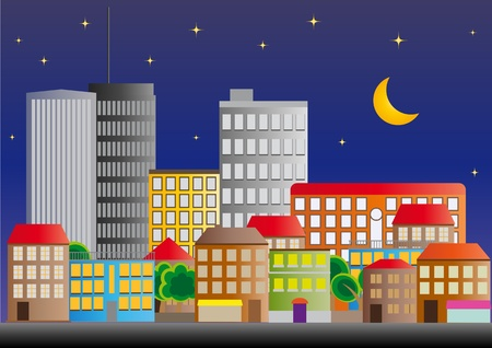 commercial real estate: illustration of neighborhood of city of night Illustration
