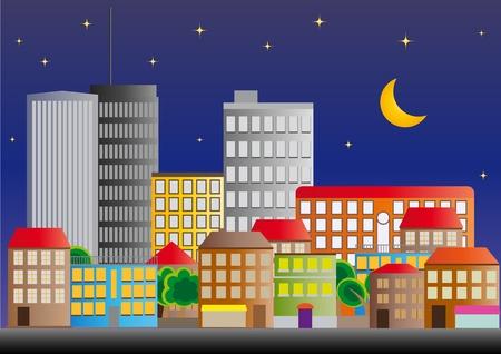 illustration of neighborhood of city of night Stock Vector - 11493856