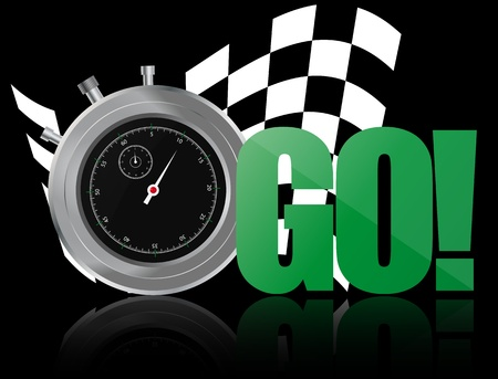 chronometer: illustrator of go text with chronometer and chequered flag