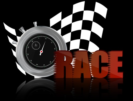 chronometer: illustrator of race text with chronometer and chequered flag