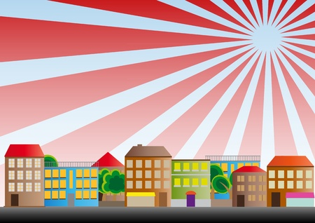 illustration of neighborhood of city with sunburst Vector