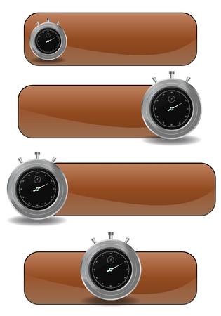 chronometer: illustration set of brown banner with chronometer