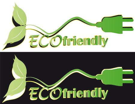 illustration of eco friendly with plug and leaf Vector