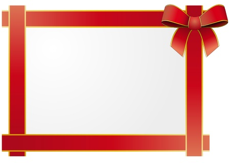 illustration of frame with silk tied red ribbon