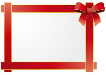 illustratie van het frame met zijde gebonden rood lint