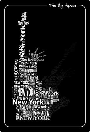 new york state: abstract statue of liberty with words New York  Illustration