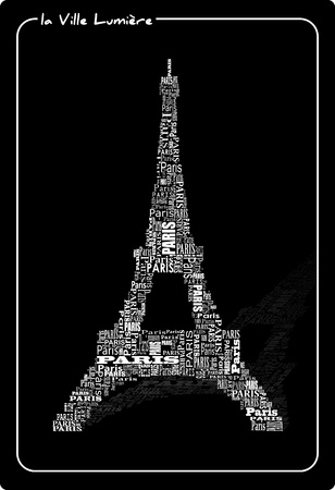 abstract tour eiffel with words Paris Vector