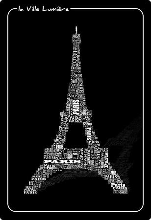 astratto Tour Eiffel con le parole Parigi