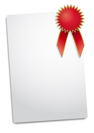 award ribbon rosette: illustration of Blank red award ribbon rosette