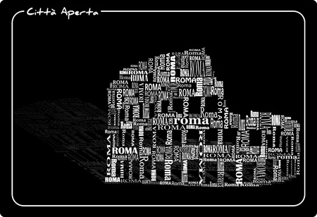 colosseo: abstract colosseo with words Roma