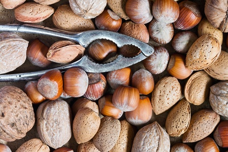 texture of nutcracker with nuts, almonds and hazels photo