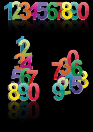 three dimensional: illustration set of color numbers three dimensional Illustration