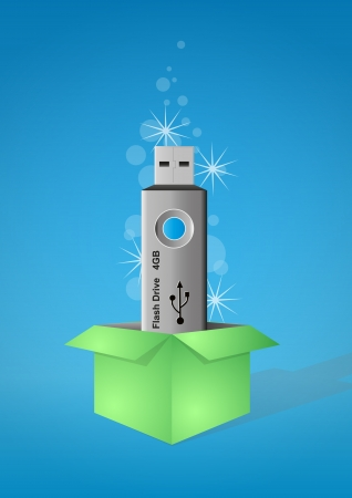 flash drive: illustration of blue pen drive in green box