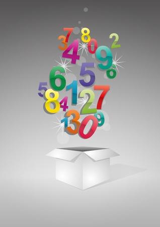 illustratie van de open doos met kleurrijke nummers