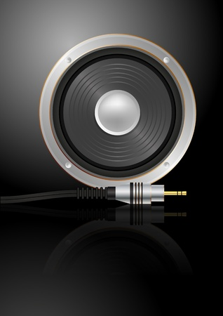 audio electronics: illustration of loudspeaker with music plug Illustration