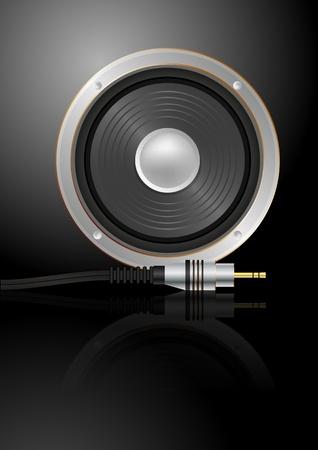 sound system: ilustraci�n de altavoz con enchufe de m�sica