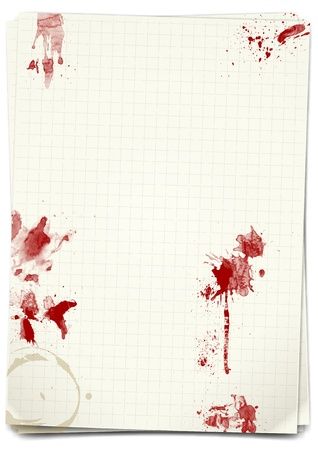 a4 background: illustration of squared sheet with blood stain