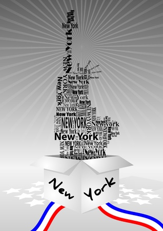 illustration of open box with statue of liberty  Vector