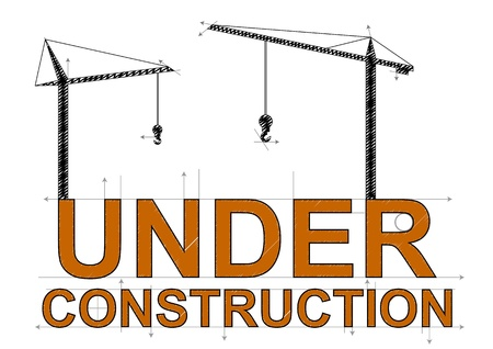 illustration of under construction text with cranes Vector