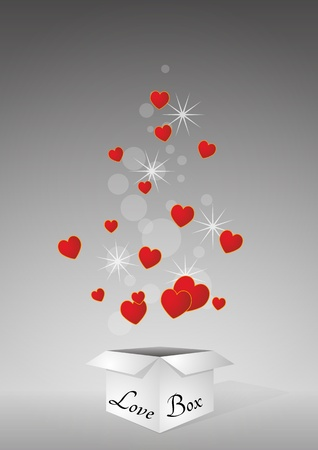 illustration of open box with red hearts Vector