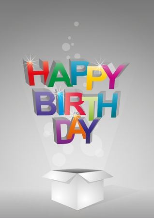 text box: illustration of color happy birthday text box