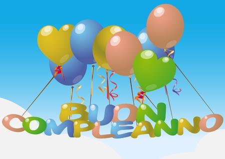 illustration of happy birthday in italian language  Stock Vector - 12069105