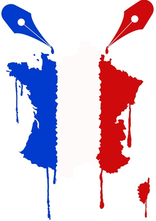 nib: illustration of france flag with ink of nib