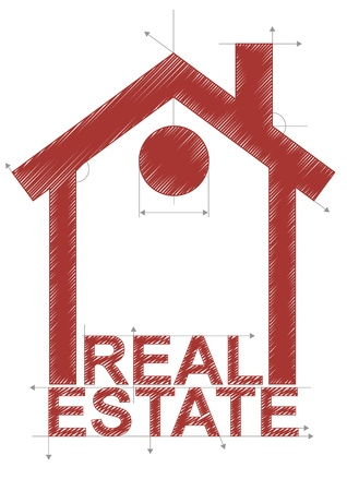 realestate: illustration of house with real estate text