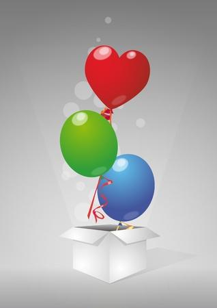 illustration of color balloons un open box Stock Vector - 12230478