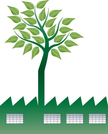 illustration of factory with tree in smokestack Vector