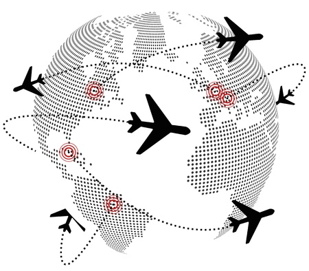 illustration of airplane around the world