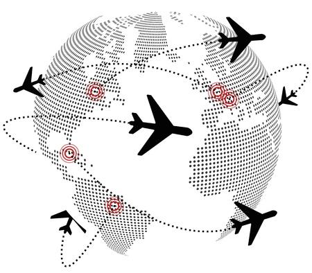 illustratie van het vliegtuig over de hele wereld