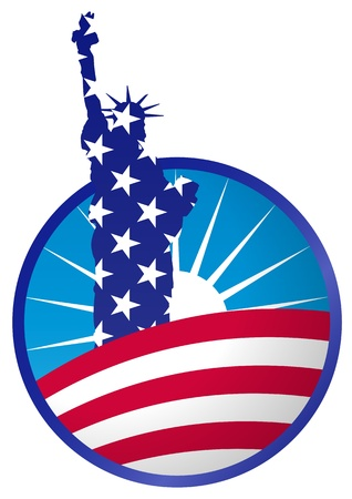 usa flag: illustration of statue of liberty in circle banner